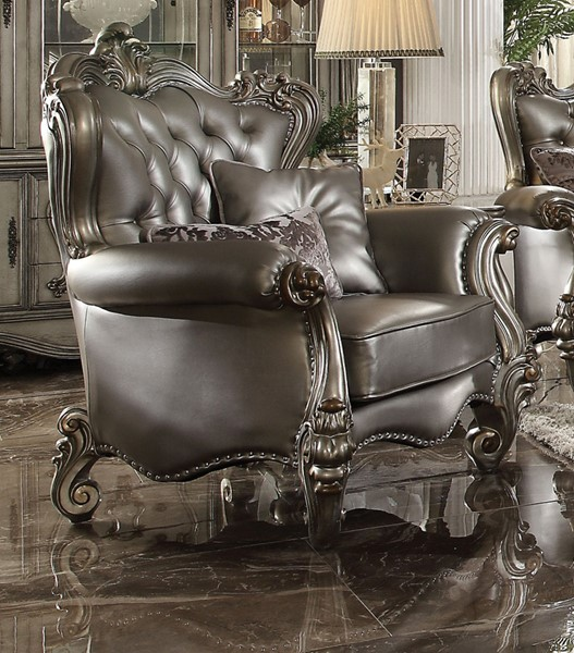 - Acme Furniture Versailles Silver Antique Chair With Two Pillows