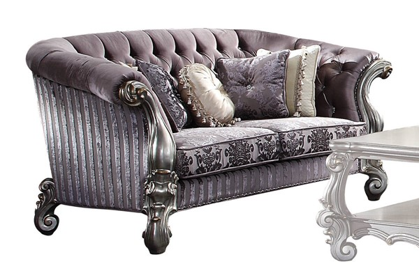 Acme Furniture Versailles Antique Platinum Loveseat with 5 Pillows ACM-56826