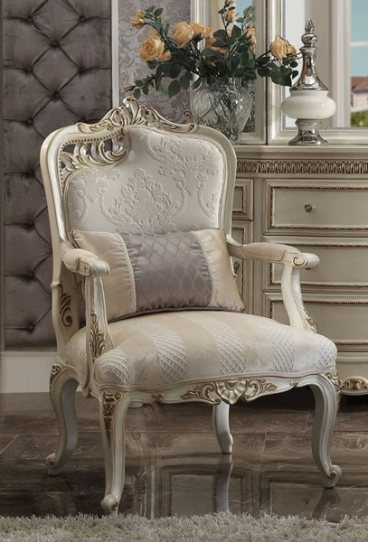 Acme Furniture Picardy Antique Pearl Left Cut Out Leaf Chair with Pillow ACM-56883