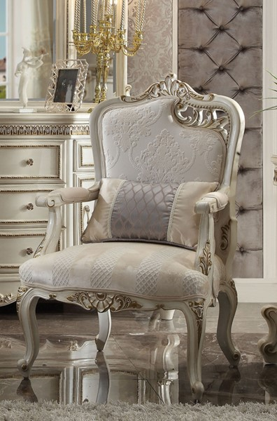 Acme Furniture Picardy Antique Pearl Right Cut Out Leaf Chair with Pillow ACM-56884
