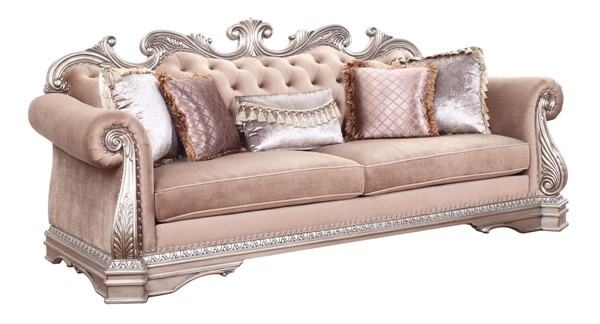 Acme Furniture Northville Antique Silver Sofa with 5 Pillows ACM-56930