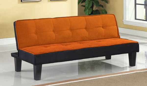 Hamar Orange Fabric Wood Tufted Back Adjustable Sofa ACM-57029