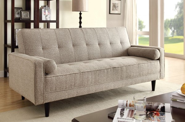 Edana Contemporary Sand Fabric Adjustable Sofa w/2 Pillows ACM-57071