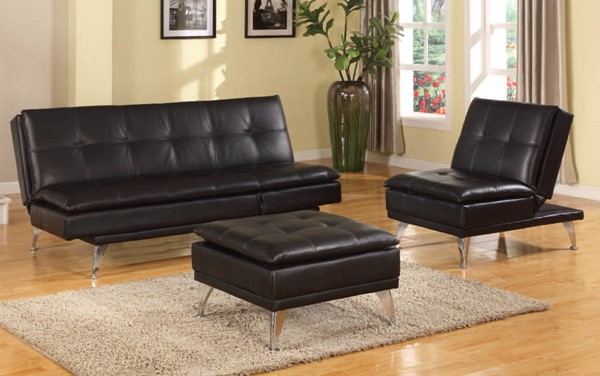 Frasier Black PU Metal Adjustable Living Room Set ACM-57080-LR