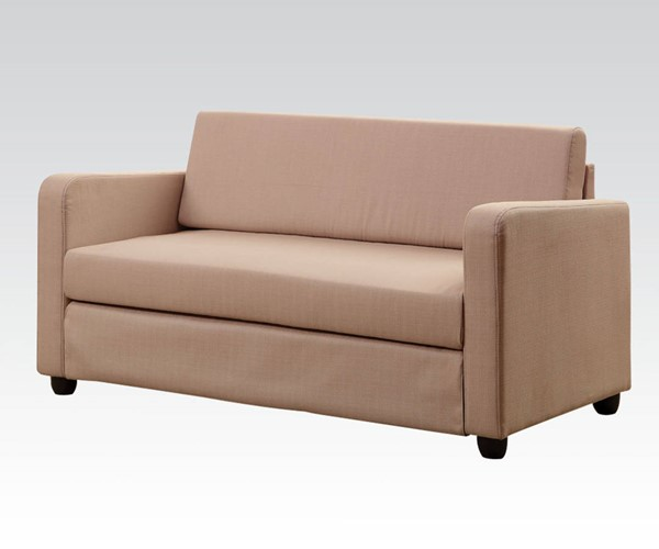 Conall Beige Wood Fabric Plastic Adjustable Sofa ACM-57087