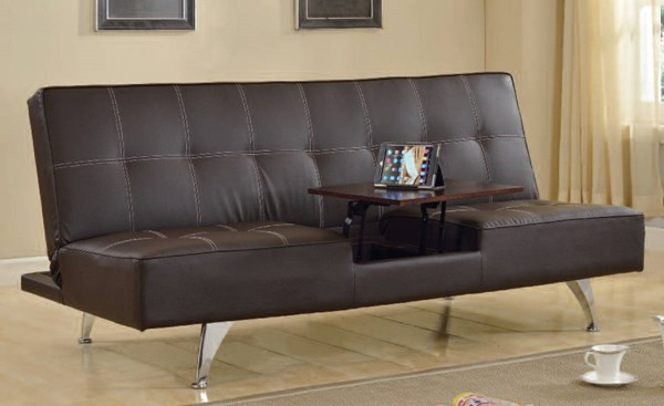 Derby Brown PU Metal Adjustable Sofa w/Hidden Table ACM-57129