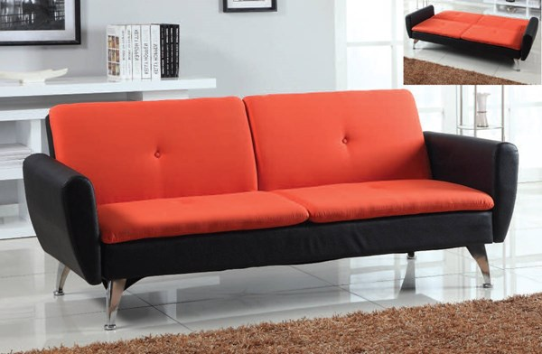 Kimber Orange Black Chocolate PU Fabric Adjustable Sofa ACM-57130-32