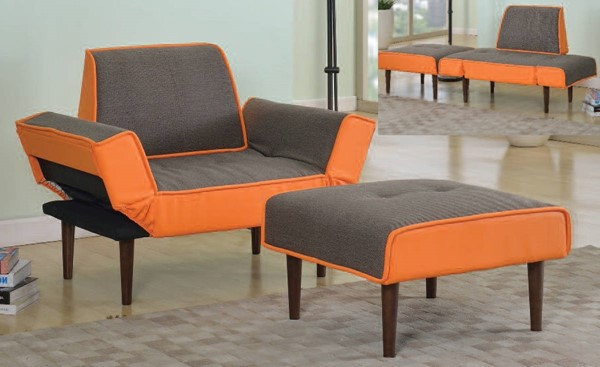 Lorin Gray Orange Fabric PU Wood 2pc Pack Adjustable Chair & Ottoman ACM-57166