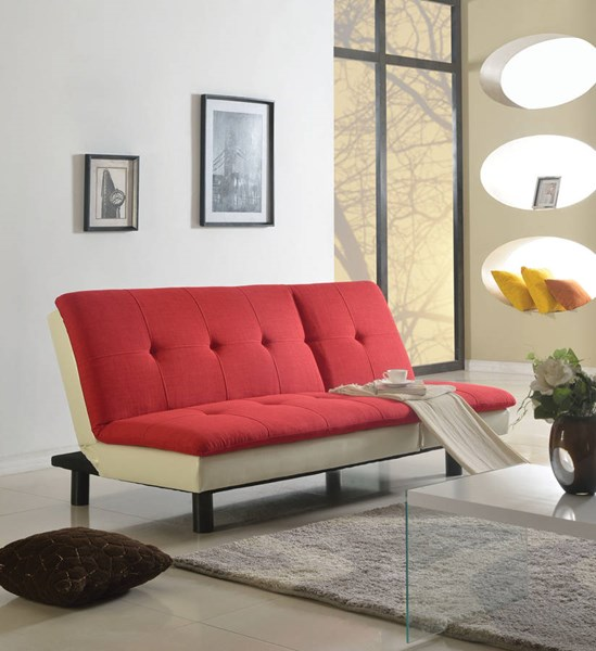Fralling Red Beige PU Fabric Wood Adjustable Sofa ACM-57182