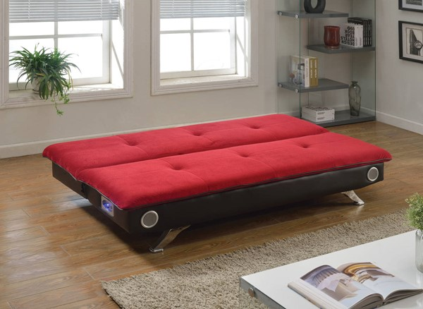 Lostore Red Espresso PU Fabric Wood Adjustable Sofa w/Speakers ACM-57186