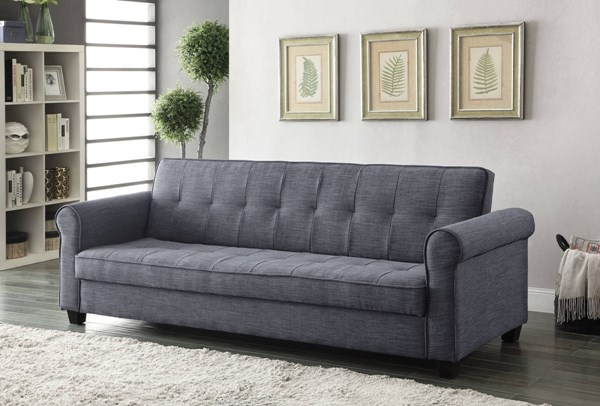 Aliza Dark Blue Gray Linen Fabric Wood Frame Adjustable Sofa ACM-57240
