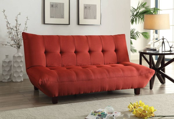 Baines Contemporary Red Memory Foam Wood Adjustable Sofa ACM-57250