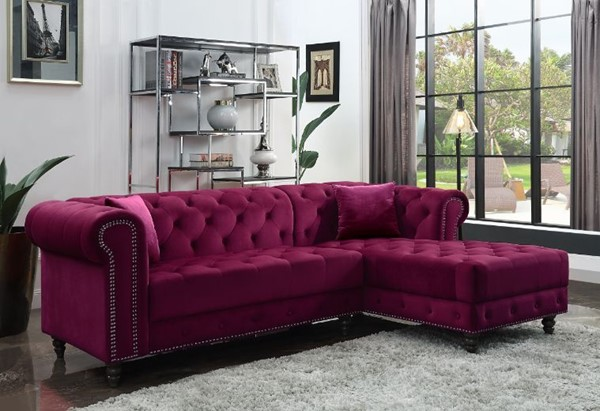 Acme Furniture Adnelis Red Two Pillows Sectional Sofa ACM-57315