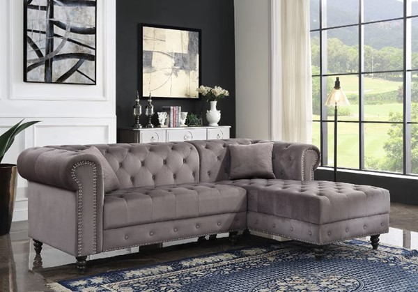 Acme Furniture Adnelis Gray Two Pillows Sectional Sofa ACM-57325