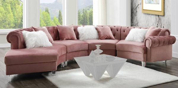 Acme Furniture Ninagold Pink Sectional Sofa with 7 Pillows ACM-57360