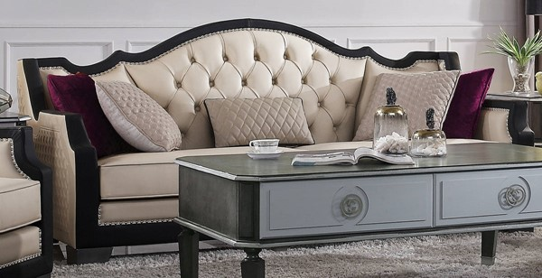 Acme Furniture House Beatrice Beige Black Sofa with 5 Pillows ACM-58810