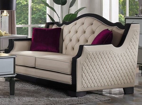 Acme Furniture House Beatrice Beige Black Loveseat with 2 Pillows ACM-58811