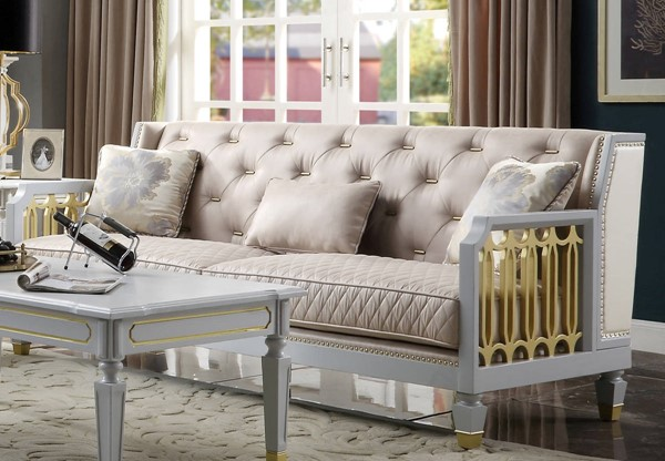 Acme Furniture House Marchese Pearl White Beige Gray Sofa with 3 Pillows ACM-58865