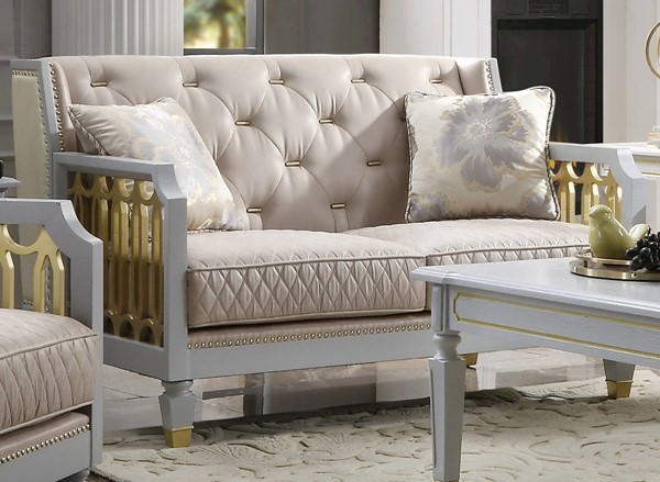 Acme Furniture House Marchese Pearl White Beige Gray Loveseat with 2 Pillows ACM-58866