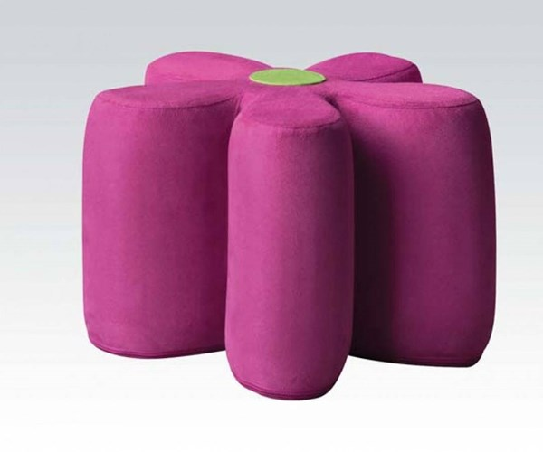 Lucy Youth Pink Fabric Pouf & Cushion Ottoman ACM-59007