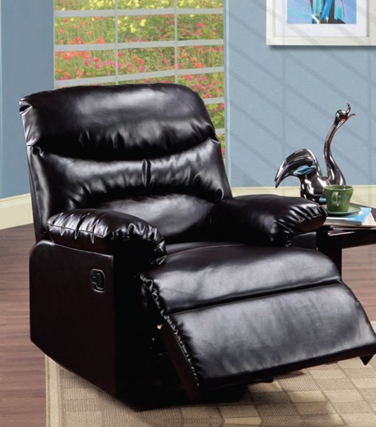 Arcadia Espresso PU Wood Padded Arms & Busted Back Recliner ACM-59010