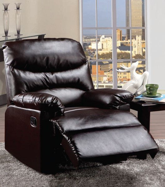 Arcadia Brown PU Wood Padded Arms & Busted Back Recliner ACM-59011