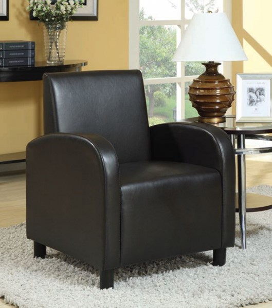 Maxie Black PU Wood Solid Back Accent Chair ACM-59052