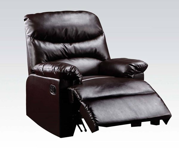 Arcadia Brown Bonded Leather Wood Glider Recliner ACM-59065