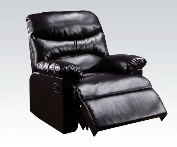 Arcadia Espresso Bonded Leather Wood Glider Recliner ACM-59067