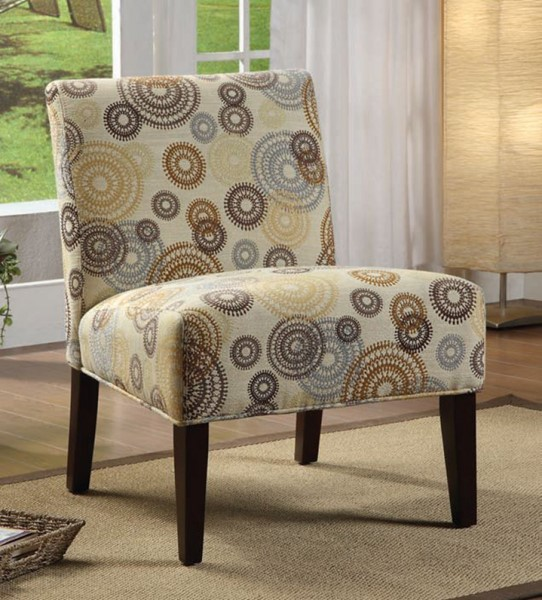 Aberly Espresso Wood Fabric Polyester Armless Accent Chair ACM-59069