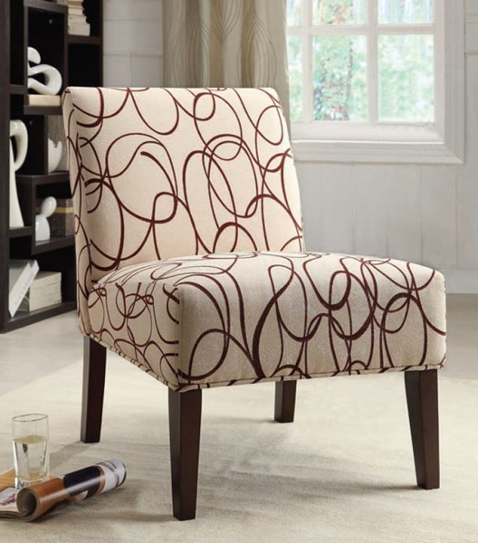 Aberly Espresso Wood Fabric Polyester Accent Chair W/Tapered Legs ACM-59070