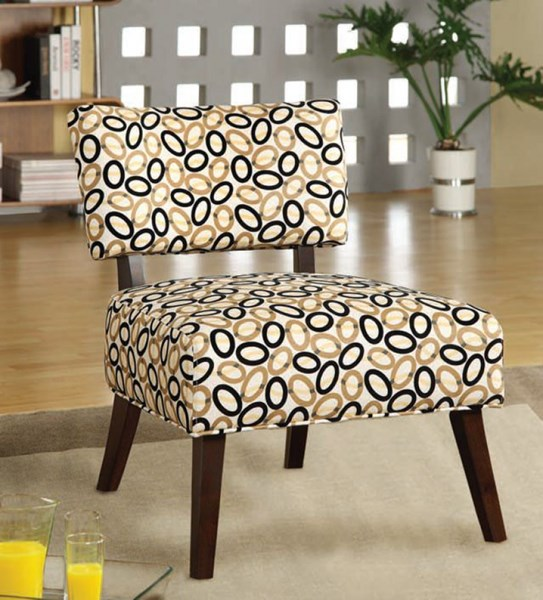 Able Espresso Fabric Polyester Wood Cushion Back Accent Chair ACM-59073