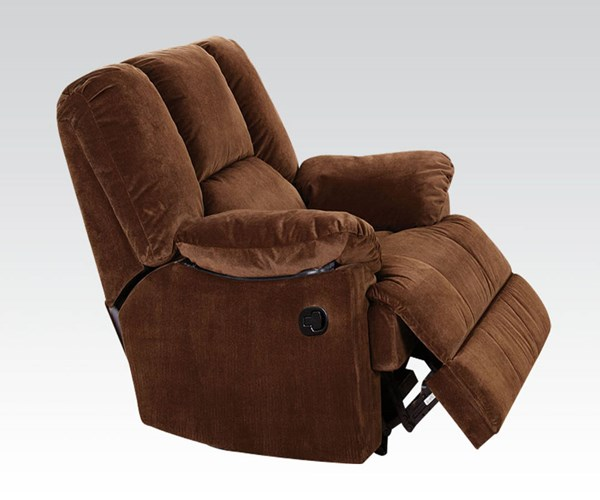 Oliver Chocolate Fabric Wood Metal Glider Recliner ACM-59092