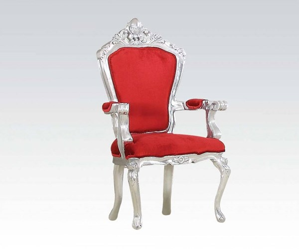 Salim Elegant Silver Red Fabric Accent Chair ACM-59113