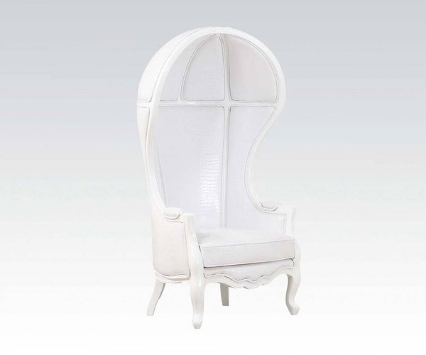 Jana White PU Wood Wing Back Hooded Accent Chair ACM-59115
