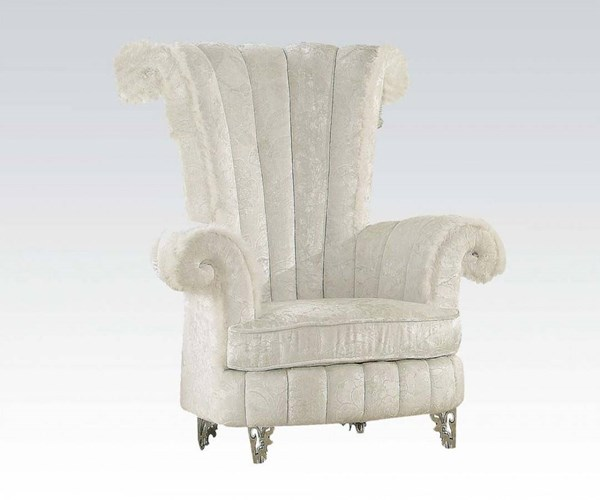 Parr White Fabric Metal Round Arm Accent Chair ACM-59124