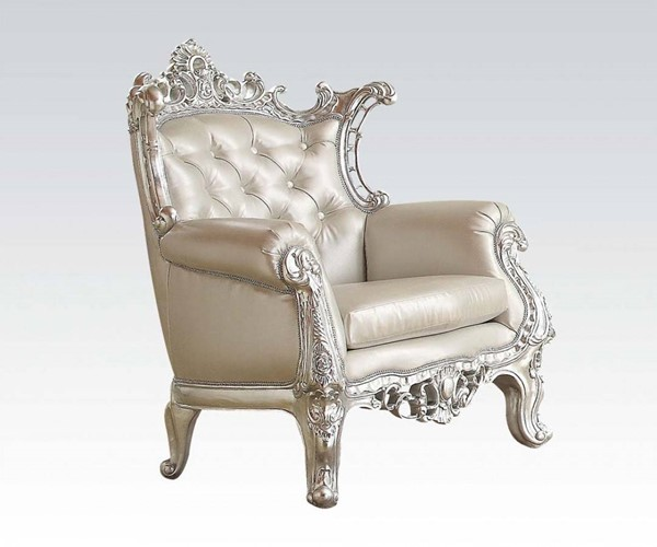 Sanjay Silver Wood PU Tufted Back Accent Chair ACM-59125