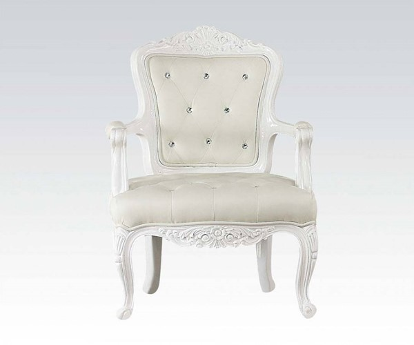 Pascal Elegant White Wood PU Tufted Back Accent Chair ACM-59130