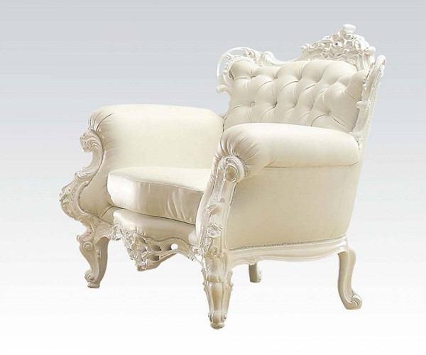 Nels White Wood PU Tufted Back Accent Chair ACM-59137