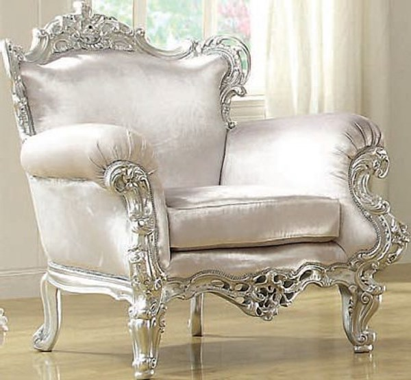 Neo Classic Silver Leather Like Vinyl Wood Accent Chair