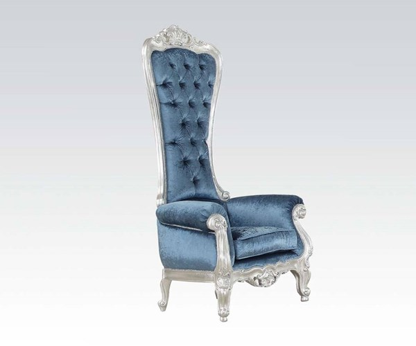 Raven Silver Blue Fabric Tufted Back Accent Chair ACM-59142