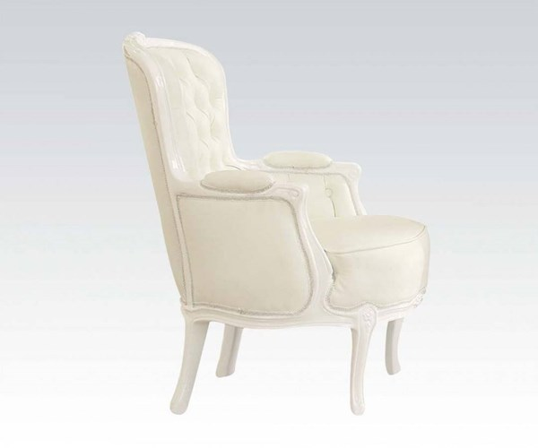 Cain White PU Track & Tufted Back Accent Chair ACM-59147