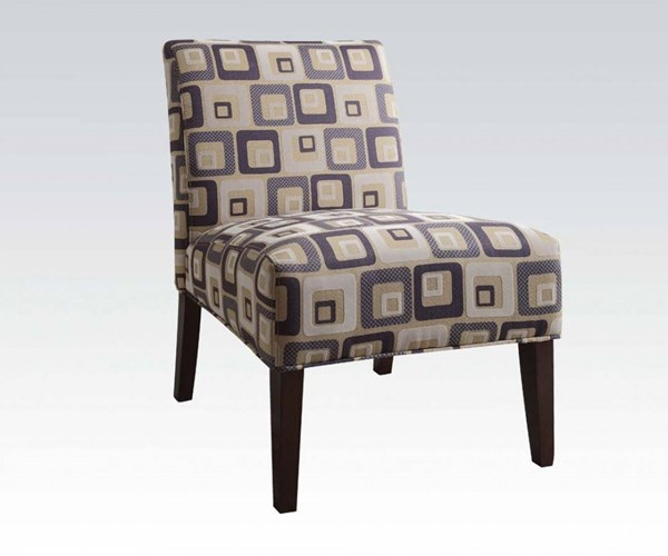 Aberly Espresso Wood Fabric Polyester Cushion Back Accent Chair ACM-59153