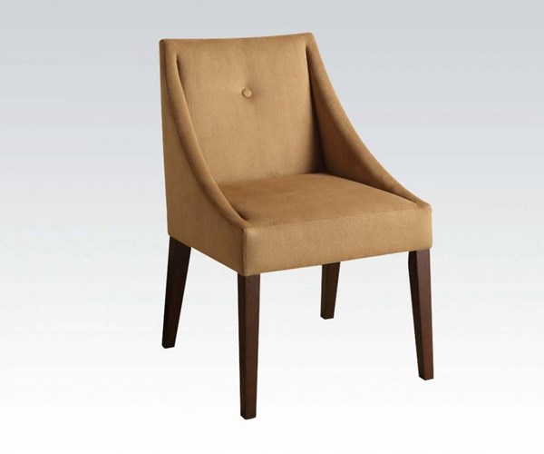 Lisandra Brown Wood Fabric Recessed Accent Chair ACM-59155