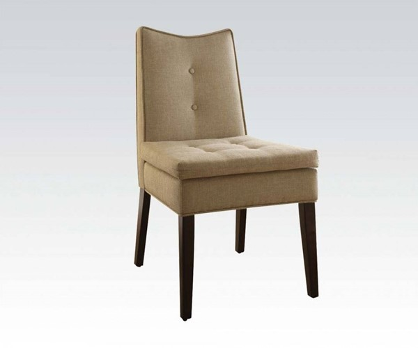 2 Galen Beige Wood Fabric Tufted Back Accent Chairs ACM-59158