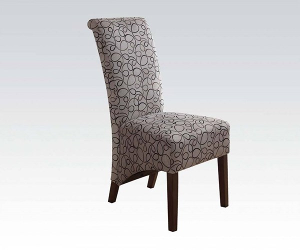 2 Howie Wood Fabric Armless & Cushion Back Accent Chairs ACM-59160