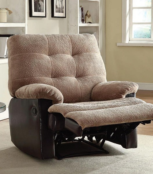 Layce Camel Fabric Tufted Back & Pillow Top Arms Glider Recliner ACM-59182