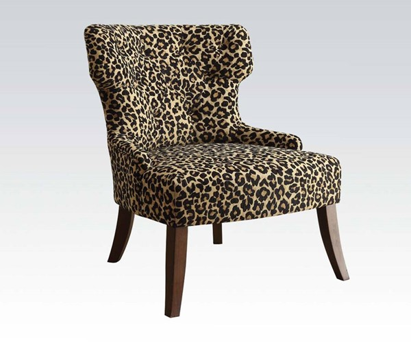 Claribel Espresso Wood Fabric Accent Chair ACM-59188