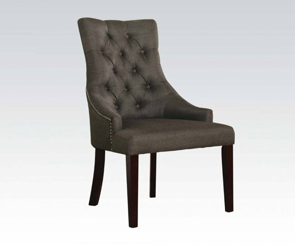 2 Drogo Gray Cream Wood Fabric Tufted Back Side Chairs ACM-59196-DR-VAR