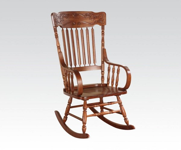 Kloris Tobacco Wood Slat Back Rocking Chair ACM-59210